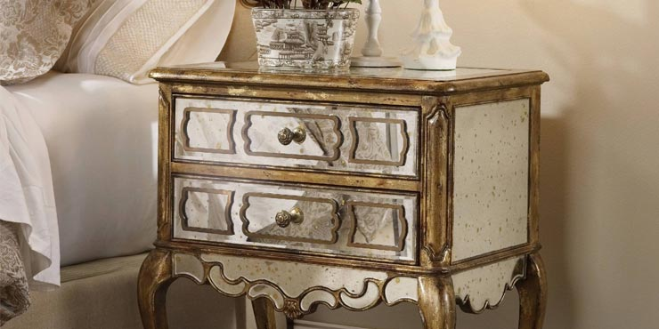 Antique Mirrored Bedside Table